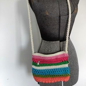 Lina Rainbow Woven Crochet Crossbody Bag